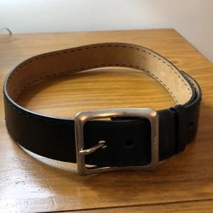 Prada black leather belt w silver buckle. 80/32